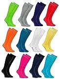 Rainbow Socks 12 Paar Bunte KNIESTRÜMPFE Gekämmte BAUMWOLLE, Modern Lange Socken MULTIPACK für Jeden Tag, Bequem und Fein|MEHRFARBIG, EU Größen 44-46, Made in EUROPA