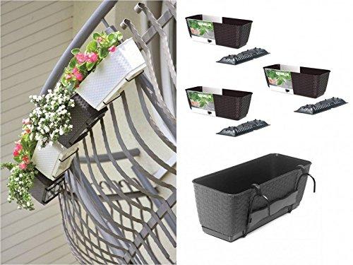 Set 4 x Pflanzkasten im Rattan Design mit integriertem Wasserspeicher und Halterungen aus Metall für Geländer aller Art oder zum Aufstellen, Maße B 50 x H 17,2 x T 17,4 cm, Farbe Anthrazit