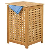 MSV Wäschetruhe Wäschekorb Holz Bambus 40x40x58cm als Wäschesammler mit luftdurchlässigem Deckel und herausnehmbaren Wäschesack, natur