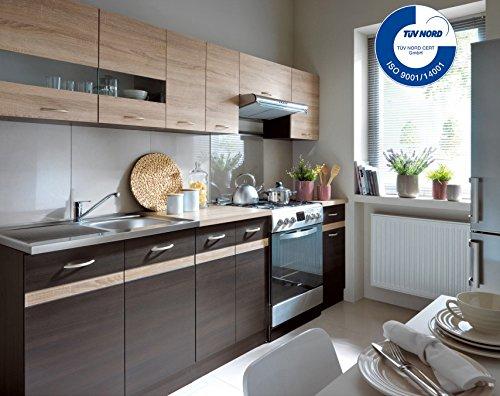 Küche 240cm von FIWODO - ERWEITERBAR - günstig + schnell - Einbauküche Junona Line Set 240 - 4 Fronten wählbar (WENGE / SONOMA)