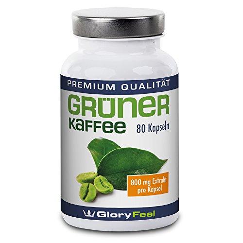 Grüner Kaffee Kapseln - Der Preis-Leistungs-Sieger 2017 - 1600mg Hochdosiert Original Green Coffee Extrakt + Vitamin C pro Tagesdosis - 80 Kapseln Nahrungsergänzung von GloryFeel