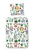 Aminata Kids – Bunte Bettwäsche Dschungel á 100x135 cm Kinder Mädchen Jungen Tiere Zootiere Baumwolle + Reißverschluss Kinderbettwäsche Löwe Affe Elefant Zebra Giraffe Bettwäscheset Bettbezug