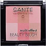SANTE Naturkosmetik Multi Effect Beauty Blush 01 Coral, Rouge, 6 Farbnuancen, Seidig-weiche Textur, Bio-Extrakte, Natural Make-up, 8g