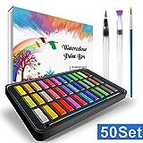 RATEL Aquarellfarben Set Aquarell Malkasten Inklusive 36 Farben Festes Pigment + 2 Hookline-Stifte + 2 Wassertankpinsel + 10 Aquarellpapiere - wasserlöslich und gut mischbar Aquarell-Farben-Set