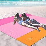 OCOOPA 200 x 200 cm Stranddecke, Sandfreie Picknickdecke Campingdecke Strandtuch, aus Weiches Nylon mit Tasche, Wasserdicht, Schnell Trocknend, Ultraleicht, Tragbar (Rosa)