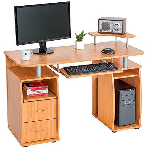 TecTake Computerschreibtisch Bürotisch mit ausfahrbarer Tastaturablage und zwei Schubladen - diverse Farben - (Buche   Nr. 401667)