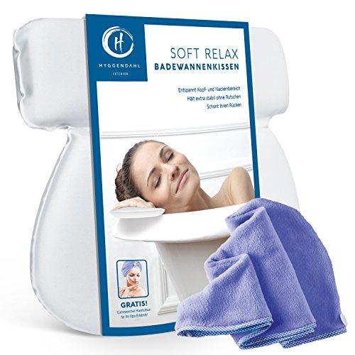 HYGGENDAHL Badekissen-Set mit Kopf-Handtuch | Nackenkissen für Badewanne, Jacuzzi & Whirlpool | Badewannenkissen mit 7 starken Saugnäpfen