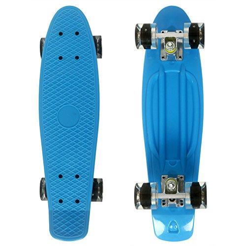 WeSkate Mini Cruiser Skateboard Retro Komplettboard, 22' 55cm Vintage Skate Board mit Kunststoff Deck und blinkenden LED-rollen, Cruiser-Board mit LED Leuchtrollen für Erwachsene Kinder Jungen Mädchen
