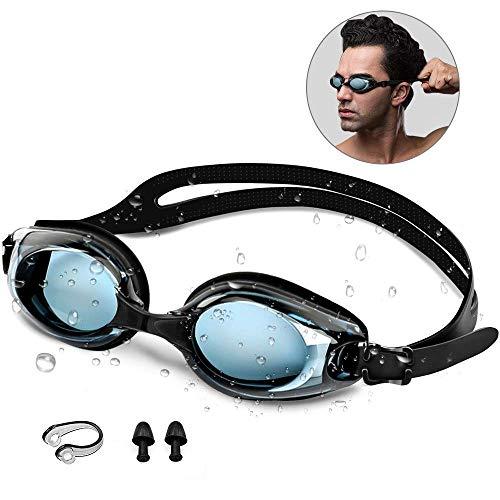 synmixx Schwimmbrillen mit UV-Schutz Anti Nebel Verstellbar Gurt Komfort Freizeit Profi Schwimmbrillen für Herren Damen Kinder, Ohrstöpsel & Nasenklammern Mitgeliefert - Schwarz
