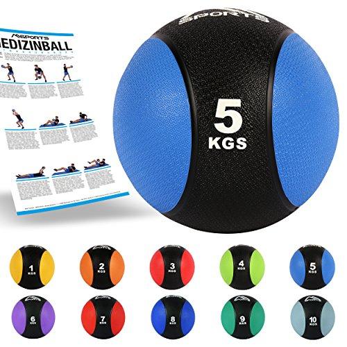 Medizinball 5 kg – Professionelle Studio-Qualität inkl. Übungsposter Gymnastikbälle