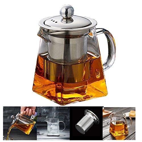 Teekanne aus Glas Teebereiter mit abnehmbare Edelstahlsieb PLUIESOLEIL – 300 ml