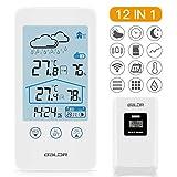 SKEY Wetterstation Funk mit Außensensor, Digital Thermometer-Hygrometer für Innen und außen, weiße Hintergrundbeleuchtung und Uhrzeit Anzeige,Weiß