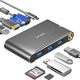 UPVICH USB C Hub,7 in 1 USB C Adapter,Docking Station 4K USB C auf HDMI,VGA,Ethernet,Power Delivery 100w,3 USB 3.0 Ports,Thunderbolt 3 Dock Kompatibel mit MacBook Pro 2018 Lenovo Samsung Dex Station