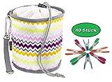 ZWICKER Design Wäscheklammerbeutel zum Aufhängen - Klammerbeutel mit 40 Wäscheklammern I Outdoor Wäschespinne Wäscheleine I 4,1l