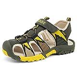 Geschlossene Sandalen Jungen Outdoor Sports Trekking Schuhe Atmungsaktiv Schnell Trocknend Unisex-Kinder Strand Schuhe Rutschfest Breathable Grün Gr.25