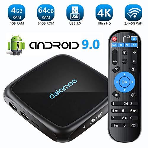Dolamee Android TV Box 9.0-【4GB RAM+64GB ROM】 4K Ultra HD Smart TV Box with Dual 2.4G&5.0G WiFi/3D/USB 3.0/Ethernet 10M/100M/HDMI,2019 Latest D18 Mini Media Player (4GB RAM+64GB ROM)