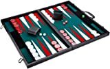 Philos 1715 - Backgammon Turniergröße, Filzinlet grün-weiß-rot, Koffer Kunstleder