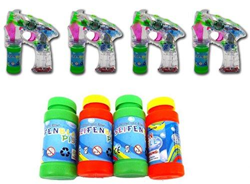 Brigamo 18B002 - 4 x Seifenblasenpistole mit Seifenblasen Nachfüllflasche, inkl. LED Licht & OHNE nervigen Sound