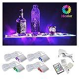BASON LED Glasbodenbeleuchtung, Glaskantenbeleuchtung, LED Vitrinenbeleuchtung RGB Fernfarbwechsel für Schrankbeleuchtung, Bar dekorieren (4-dimmbar, 20 Farben), 4er Set.