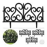 Relaxdays 4-teiliger Beetzaun, dekorativer Steckzaun für Garten, Kunststoff, mit Ornament, Erdspieße, H: 28 cm, schwarz