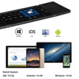 Faltbare Bluetooth Tastatur mit Touchpad for iOS/ Android/ Windows (US/UK QWERTY Layout) , IKOS Ultra-Slim Dreifach Folding Kabellose Tragbare Tastatur für iPhone X 8 7 iPad Mini iPad Pro Samsung Smartphones Tablets PC