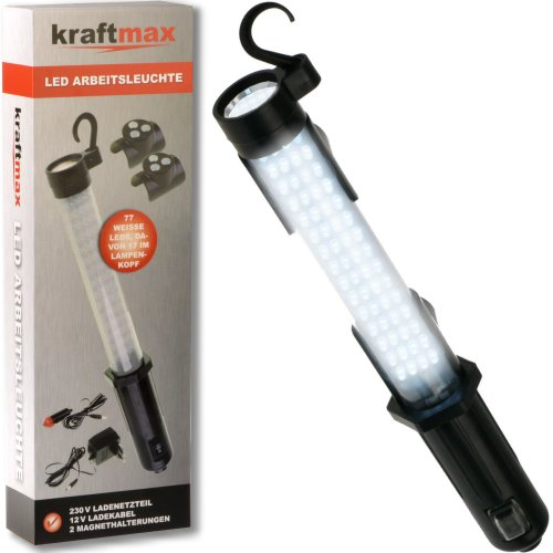 Kraftmax W1000 Hochleistungs LED Arbeitsleuchte Worklight kabellos inklusive Akku Netzteil 12 V KFZ Ladegerät 42267953