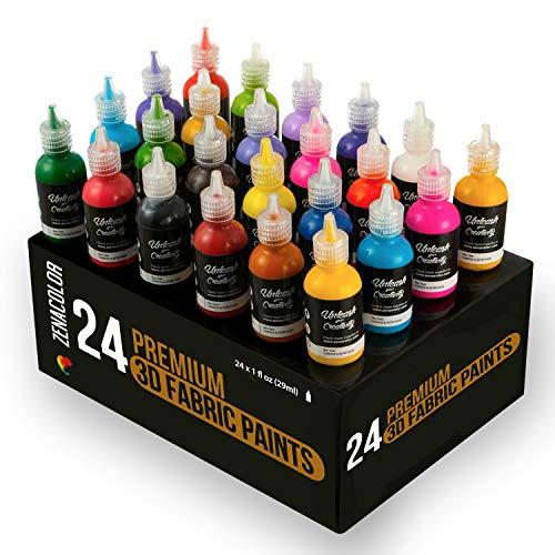 Zenacolor 24 x 3D Stoff- und Textilfarben - Auftragen durch Drücken der Tube (29mL) - Personalisierung von Textilien (Baumwolle) - Gestalten von T-Shirts, Kleidungsstücke, Leinwänden, Holz, Glas
