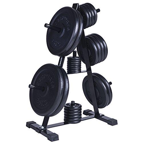 ScSPORTS Hantelscheiben-Set 130kg Gusseisen mit Hantelscheibenständer, Gewichtsständer mit Gewichten, Bohrung und Aufnahme 30 mm