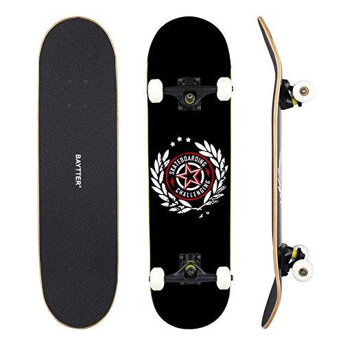 BAYTTER Skateboard Komplett Board Funboard 79x20cm mit 7-lagigem Ahornholz und ABEC-11 Kugellager 95A Rollenhärte, für Kinder, Jugendliche und Erwachsene, 3 Farben wählbar (schwarz)
