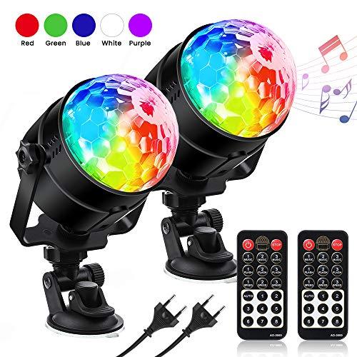 LED Discokugel Kinder Discolicht RGBWP Lichteffekt 360°Drehbares, Disco Ball 7 Farben, 8 Modi Led Partylicht mit Fernbedienung, Musik aktiviert für Kinder, Party SOLMORE