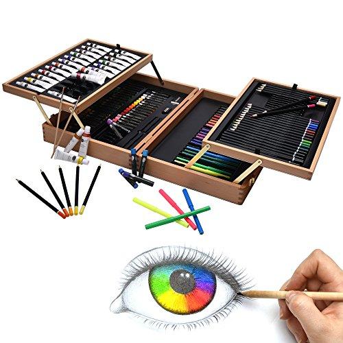127tlg. Artina XXL Malset Bologna im Holzkoffer - Acrylfarben Set, Buntstifte Set, Wasserfarben, Ölpastelle, Bleistifte