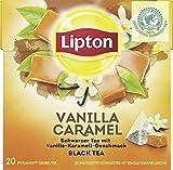 Lipton Schwarzer Tee Vanille Karamell Pyramidenbeutel, 20 Stück, 3er Pack (60Stück)