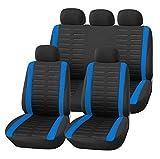 upgrade4cars Auto-Sitzbezüge Set Schwarz Blau Universal | Auto-Schonbezüge für die Vordersitze & Rückbank | Auto-Sitzschoner | Schutzbezug Autositz | Auto-Zubehör Innenraum Deko (B1 Blau)