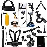 Luxebell Zubehör Kit für Sony Action Cam HDR-AS15 / AS20 / AS30V / AS100V / AS200V / Sony Action Cam HDR-AZ1 Mini Sony FDR-X1000V / W 4K-Kameras, Helm Schlaufenhalterung + Handheld Monopod ausdehnbarer Teleskop Pole + Brustgurt Berg + Floating-Handgriff-Griff + Fahrrad-Lenkstange-Einfassungs-Halter + Car Saugnapf + Flexible Stativ + Aufbewahrungstasche