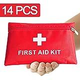 Erste Hilfe Set,14 Stück in Roter Halbharte Tasche, Mini First Aid Kit für Notfälle in der Familie - Ideal für Zuhause Auto Reisen Camping und Outdoor Aktivitäten, JAANY