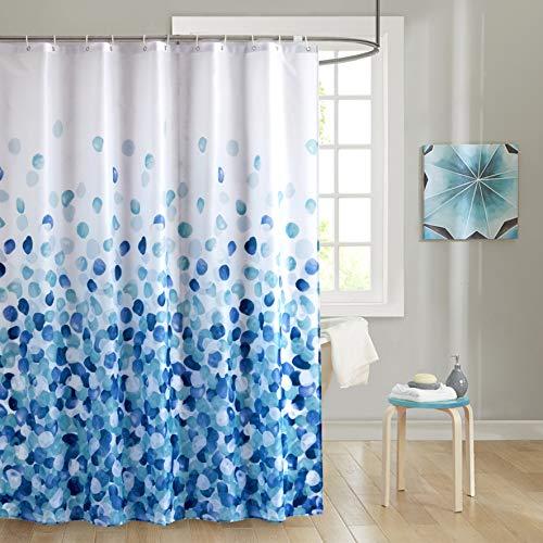 JRing Duschvorhang Polyester Stoff Wasserdicht Schimmelbeständig und maschinenwaschbar Badvorhänge mit 12 Haken 180x200cm Blaue Blütenblätter