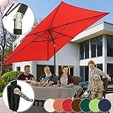MIADOMODO Sonnenschirm 3 x 2 m I Rechteckig, Farbwahl, Quadratisch, mit Handkurbel, Knickbar, UV-Schutz I Gartenschirm, Marktschirm, Balkonschirm, Terassenschirm