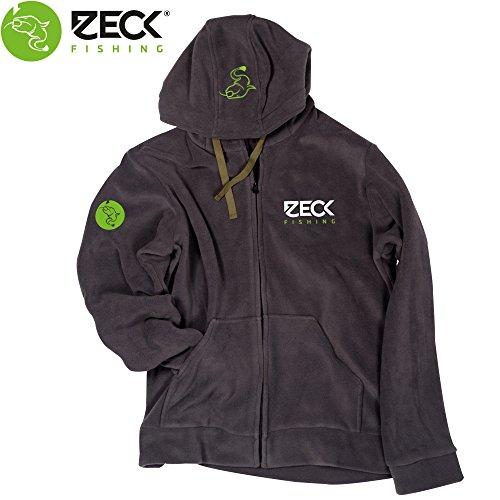 Zeck Fleece Jacket - Fleecejacke für Angler, Kapuzenpullover, Zip Hoodie, Anglerjacke für Welsangler, Angeljacke für Wallerangler, Größe:XL