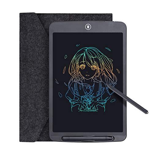 Tyhbelle LCD Schreibtafel 12' hellere Schrift mit Anti-Clearance Funktion und Dicke Linien,String,Stift papierlos für Schreiben Malen 2 Stifte mit Schutztasche (12 Zoll, Farbige Schrift)