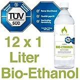 12 x 1L Bioethanol 96,6% - 12 Liter in 1L Flaschen zum handlichen & sicheren Gebrauch - TÜV geprüfte Reinheit, Qualität, Sicherheit & nachhaltige Herstellung - Made in Germany - AKTIONSPREIS !!!
