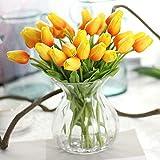 Chunqi Unechte Blumen,Künstliche Deko Blumen Gefälschte Blumen Blumenstrauß Seide Tulpe Wirkliches Berührungsgefühlen, Braut Hochzeitsblumenstrauß für Haus Garten Party Blumenschmuck 10Stück