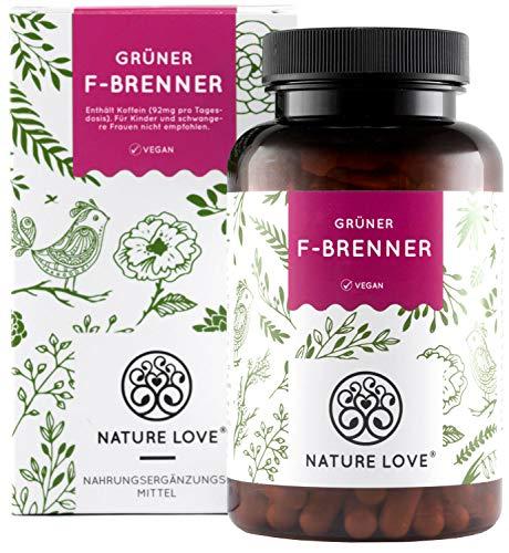 NATURE LOVE Grüner F-Brenner mit grünem Kaffeeextrakt, Guarana & grünem Tee. 120 Kapseln. Laborgeprüft und ohne Magnesiumstearat. Hochdosiert, vegan & hergestellt in Deutschland