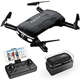 RC Quadrocopter Drohne mit 2.0MP Kamera Live Video 2 Batterien Klappbare Arms Pocket Mini Drohne für Anfänger 2.4G 6-Achsen Headless-Modus RTF Helikopter