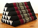 Großes Dreieckskissen als Rückenstützkissen, Thaikissen bzw. Keilkissen, Nackenkissen für das Bett (schwarz / rot)