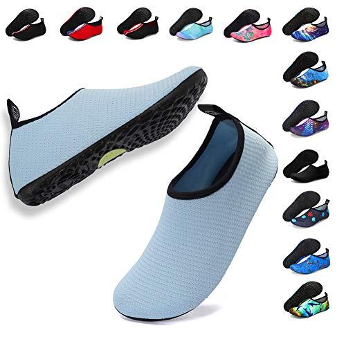 Deevike Damenschuhe Wasser Schuhe Schwimmen Barefoot Aqua Schuhe für Beach Pool Surfen Yoga Unisex Mesh Blau 42/43