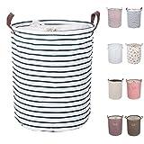 DOKEHOM Wäschekorb DKA0814BL2, Größe M, 8 Farben, 45 und 50 cm, Kordelzug, wasserdicht, rund, aus Baumwollleinen, faltbar, zur Aufbewahrung, Blaue Streifen