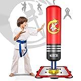 Dripex Boxsack Kinder Freistehender Standboxsack MMA Boxpartner Boxing Trainer Heavy Duty Boxsack mit Saugfuß, mehrere Farbe (120cm/47 Rot)