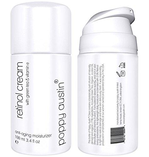 Retinol Creme für Tag & Nacht von Poppy Austin - Riesig 100ml - 2,5% Retinol, Vitamin E, Grüner Tee & Sheabutter - Anti-Aging-Feuchtigkeitscreme für das Gesicht & 2018 Beste Anti-Falten-Creme