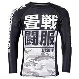 Tatami Rashguard Essential Camo Weiß/Schwarz - Langarm - Herren Rash Guard für Jiu Jitsu, Fitness, Grappling und MMA - Kompressions Shirt mit 4-Wege Stretch (L)