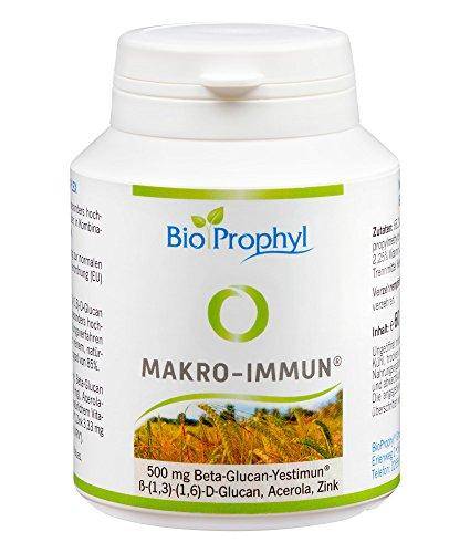BioProphyl Makro-Immun - 500 mg natürliches Yestimun Beta Glucan mit natürlichem Vitamin C und Zink - qualitativ hochwertig - zur Unterstützung des Immunsystems und den Abwehrkräften - 60 pflanzliche Kapseln